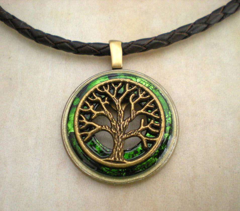 Men's Green Tree Necklace by rowan300