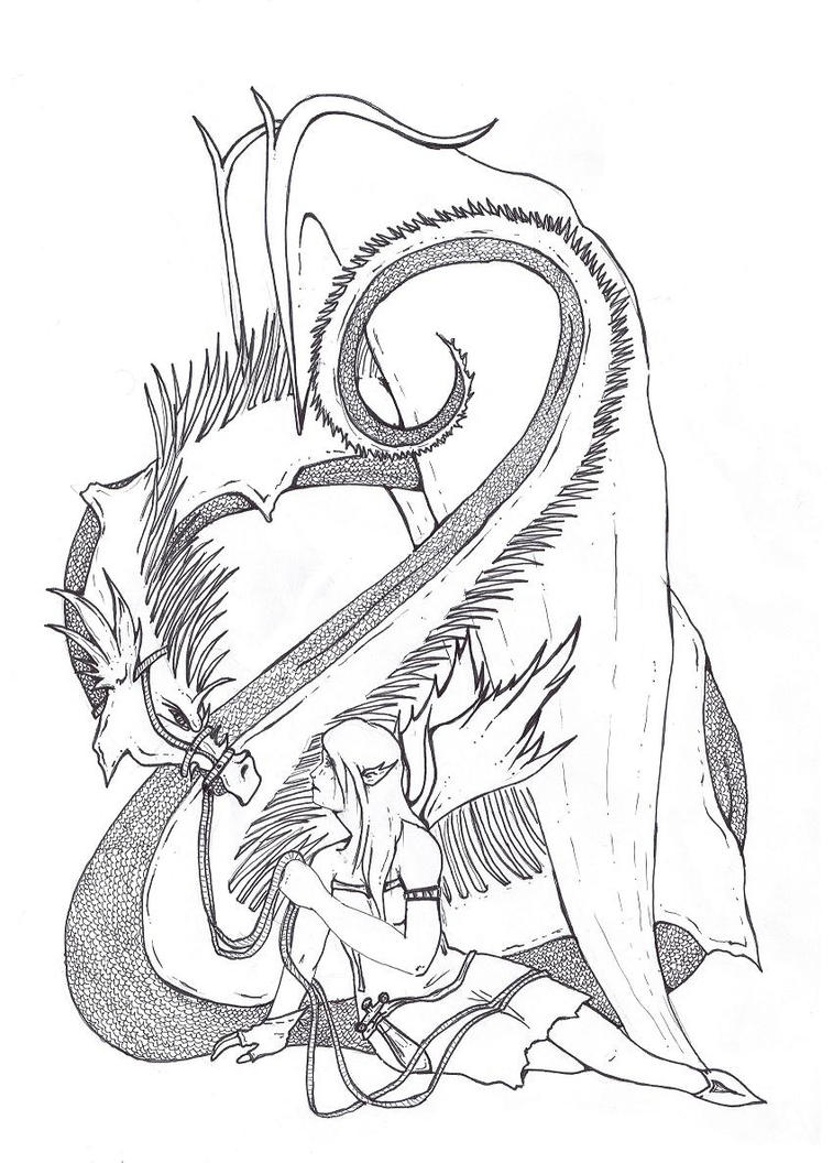 Coloring pages dragons fairies for Dragon and fairy coloring pages