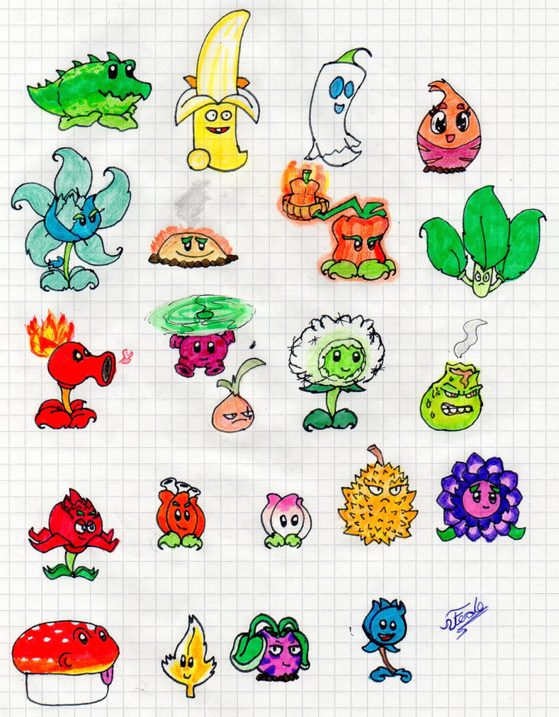 Arts And Craft Style Drawings Of Plants