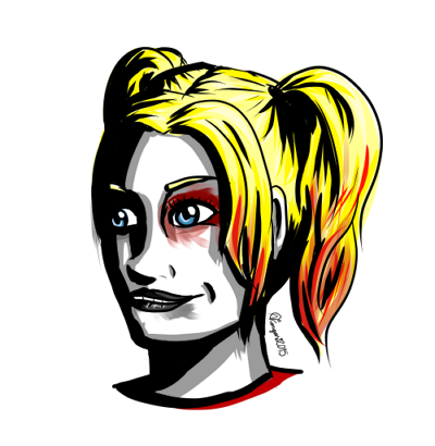 Harley Quinn shadow practice by JoyousInsomnia