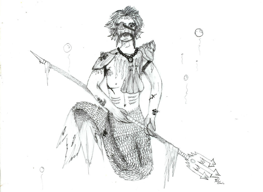 Merman with trident YAY by GraveUnicorn