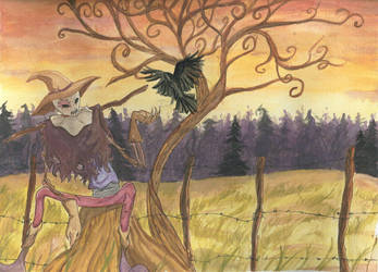 the scarecrow and the raven by Aftershocker