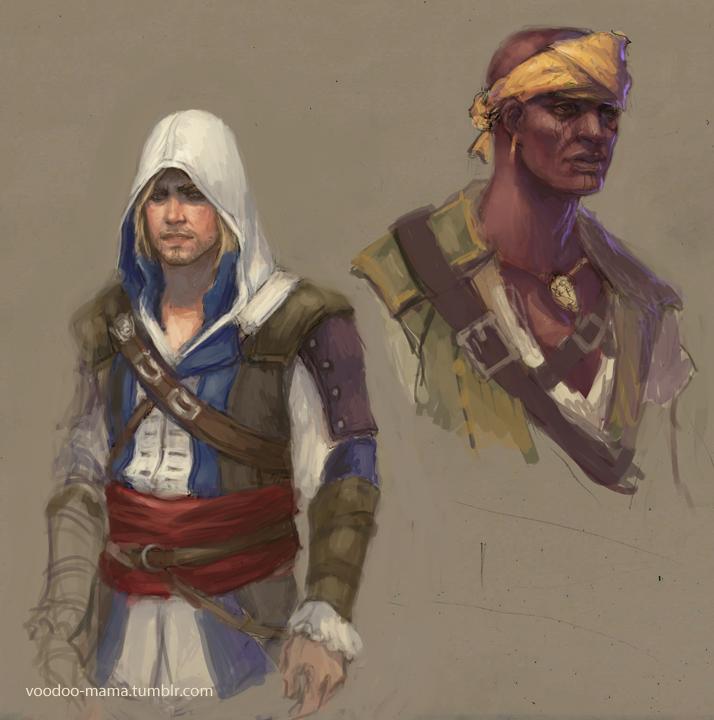 Edward and Adewale sketch by CavalierediSpade