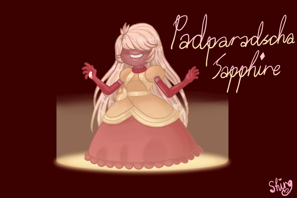 It's my Steven Universe character, Padparadscha Sapphire! She's the Padparadscha Sapphire from the Sardonyx fusion in my gallery! Here's a link to Cyan Sardonyx: shiroisanartist.deviantart.com̷...