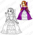 Digi Stamp Coloring page of Pretty Princess