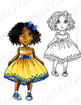 Summer Girl  Digital  Stamp Clipart Coloring Page