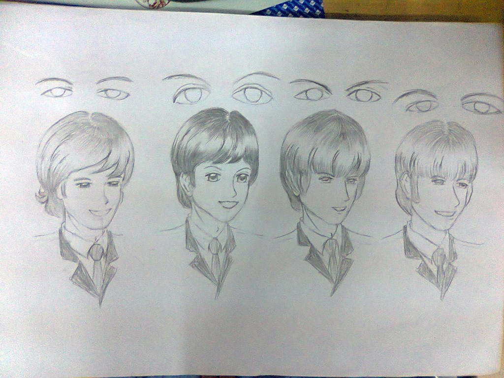 Anime version Beatles Drawing and the eyes sketch by MikaTheBlueKitty
