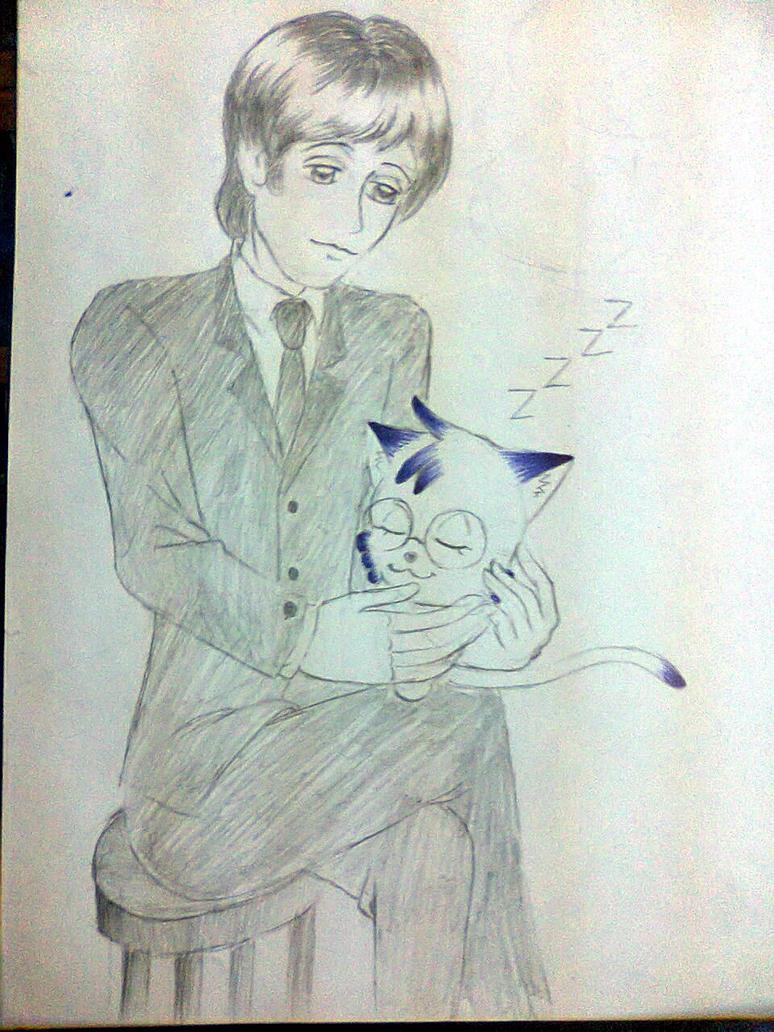 Mika: sleeping in Paul's hand by MikaTheBlueKitty
