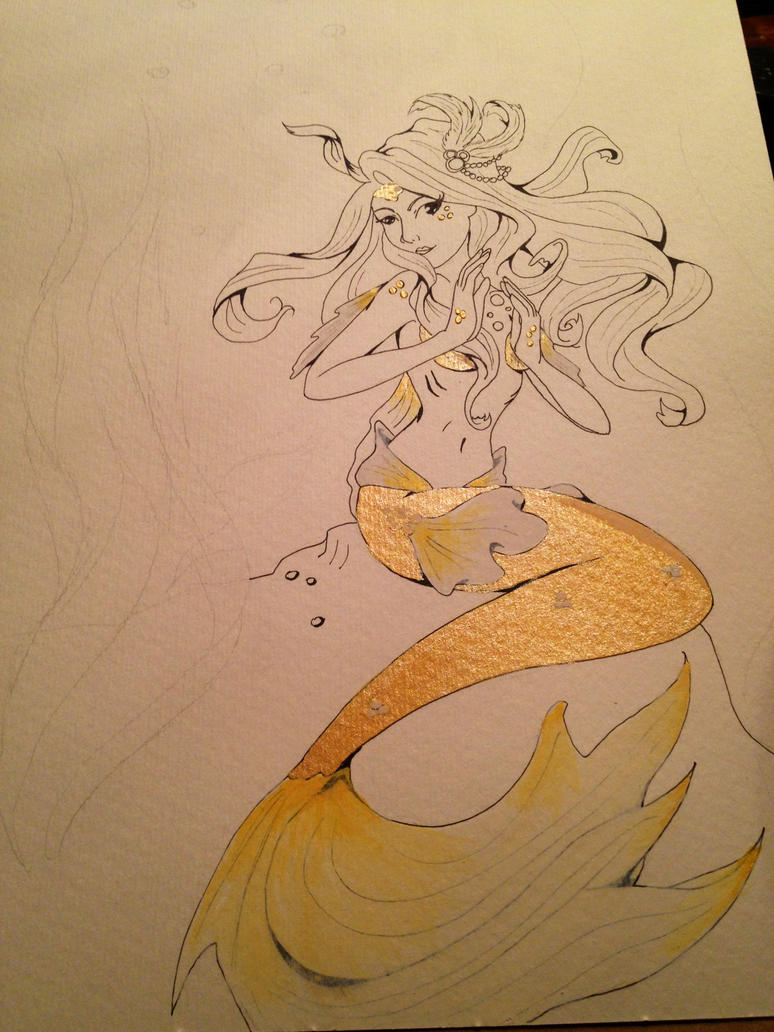goldfish mermaid, in progress by HikaruHrist