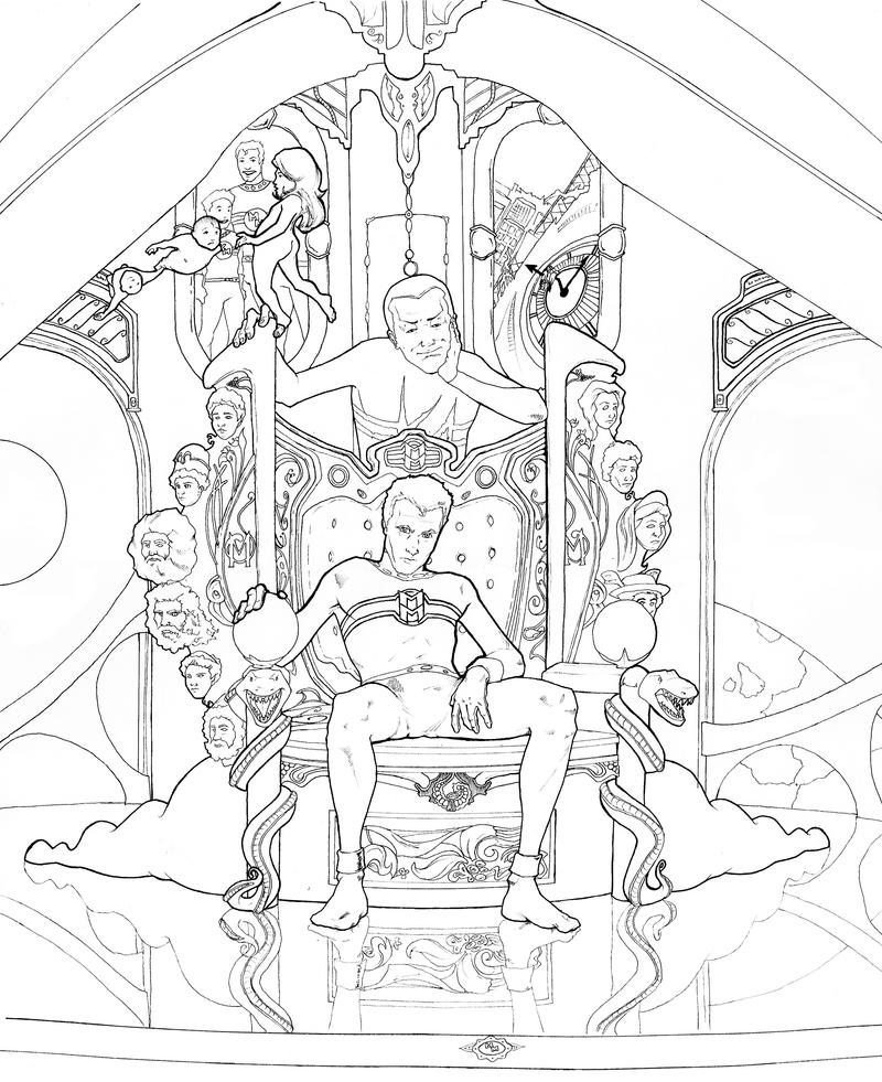 how to draw a person sitting on a throne