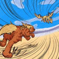 Growlithe vs Dragonite by Vixenkiba