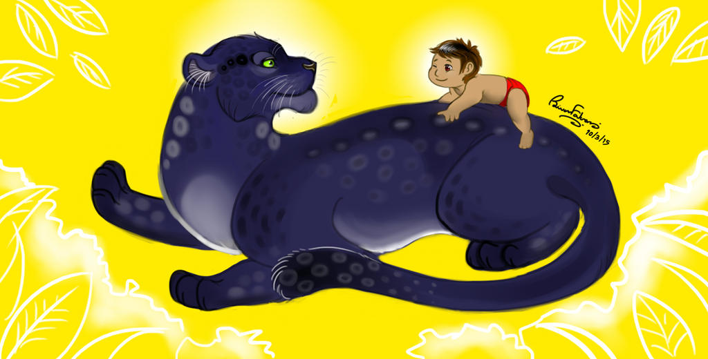 Black panther and a Man's cub by RFakonWolf