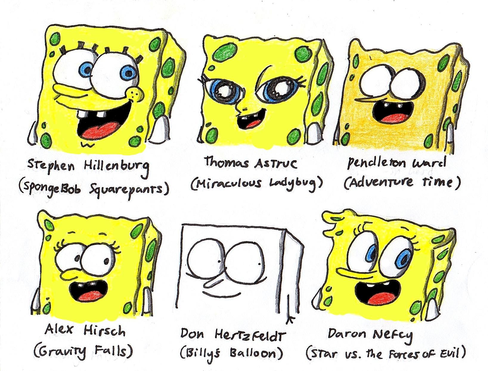 Spongebob in 6 different styles by finnjr63 on deviantart for Modern drawing styles
