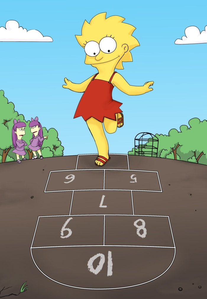 Lisa playing hopscotch by Yet-One-More-Idiot