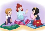 Cartoon cuties' sleepover party