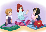 Cartoon cuties' sleepover party
