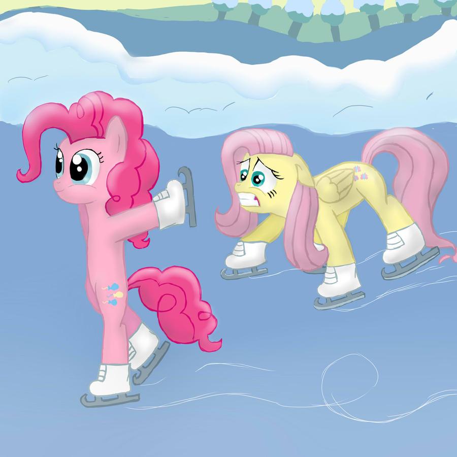 Pinkie pie and fluttershy iceskating by finnishgirl97 on deviantart