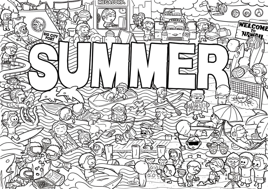 Summer Doodle Black And White Edition By Malindovszky On