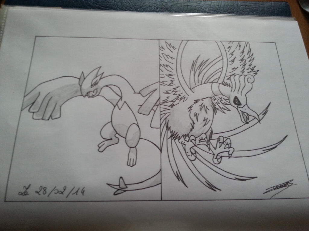 Lugia and Ho-Oh by lugialagia