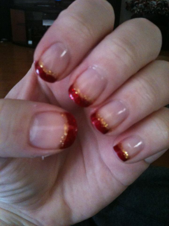 Classy Holiday French Tip Nail Art by ineedacat9 on DeviantArt