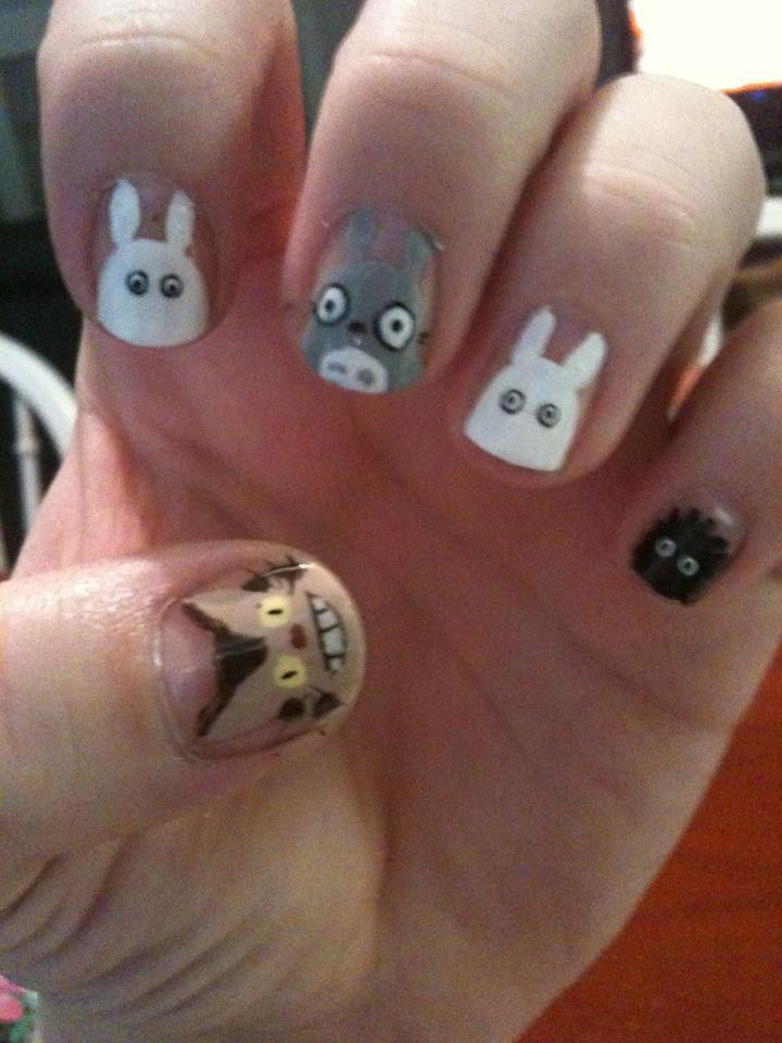 My Neighbor Totoro Ver. 2.0 Nail Art by ineedacat9