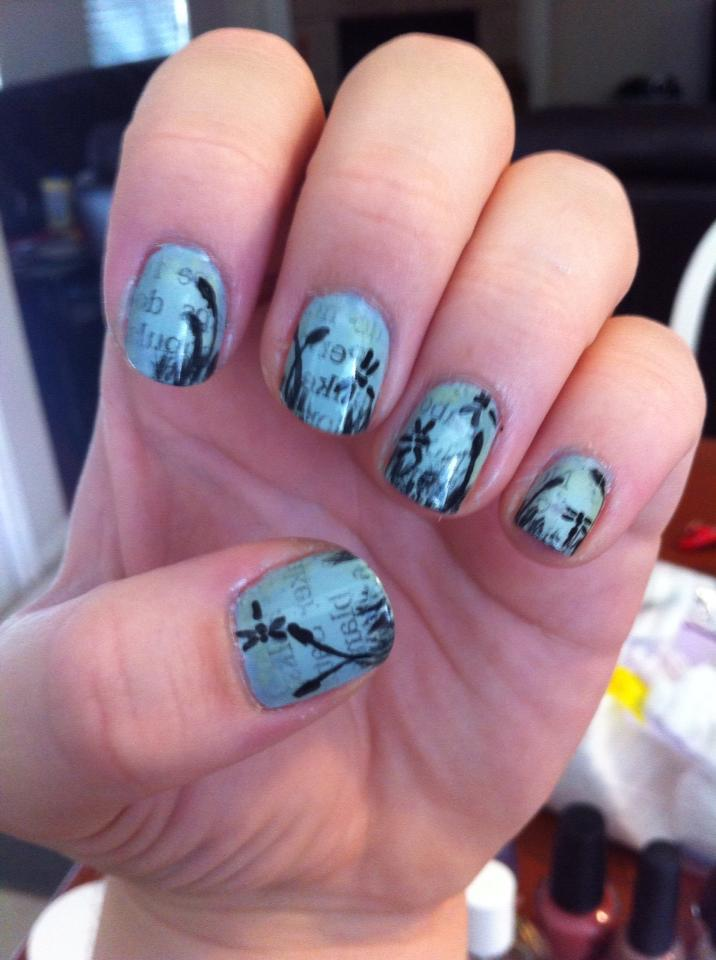 Dragonfly Newspaper Nail Art by ineedacat9 on DeviantArt