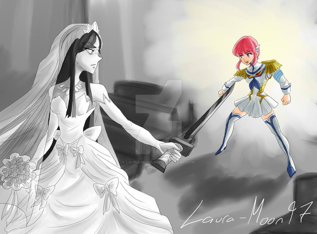 Nonon and Junketsu tries to save Satsuki by Laura-Moon97