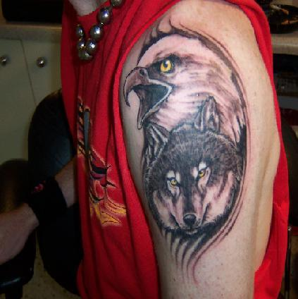 1bc27ca02 Eagle and Wolf tattoo by raveston on DeviantArt