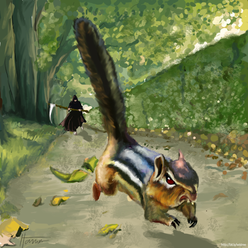 Evil Chipmunk running away from the Grim Reaper by ItamarB on DeviantArt