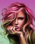 Pink and Green Portrait