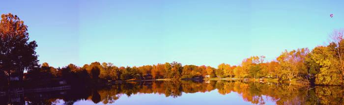 Eau Reservoir: Autumn Panorama by ferrhousulfate