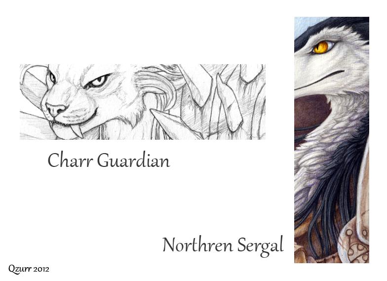 Charr and Sergal WIP by Qzurr