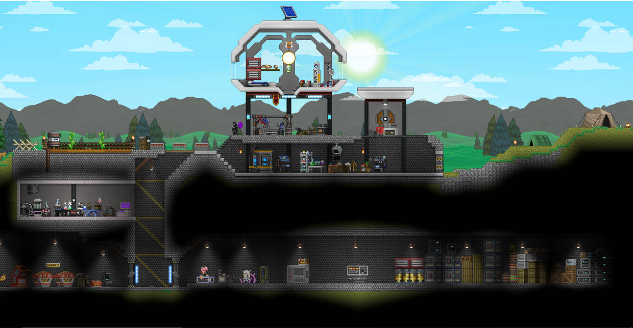 My old Starbound base by Kinereal