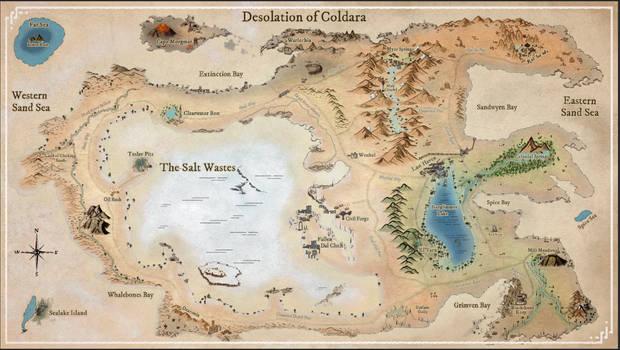 Desolation of Coldara fantasy setting map.