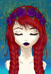 Your hair are red, and roses are purple by Sathila