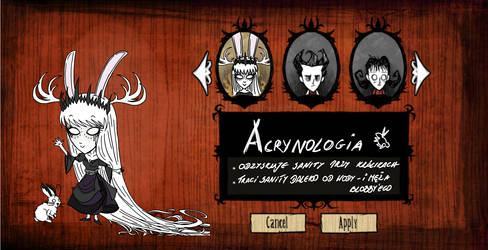 Acrynologia character sheet by Sathila