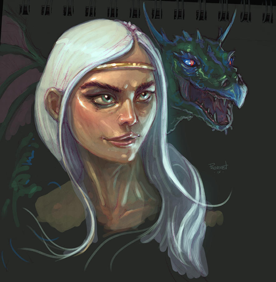Daenerys color sketch by warballoon