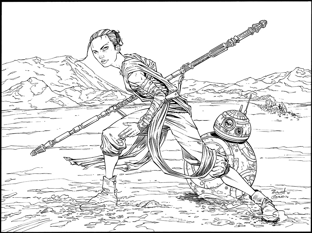 Rey and bb8 inks by warballoon on deviantart for Star wars bb8 coloring pages