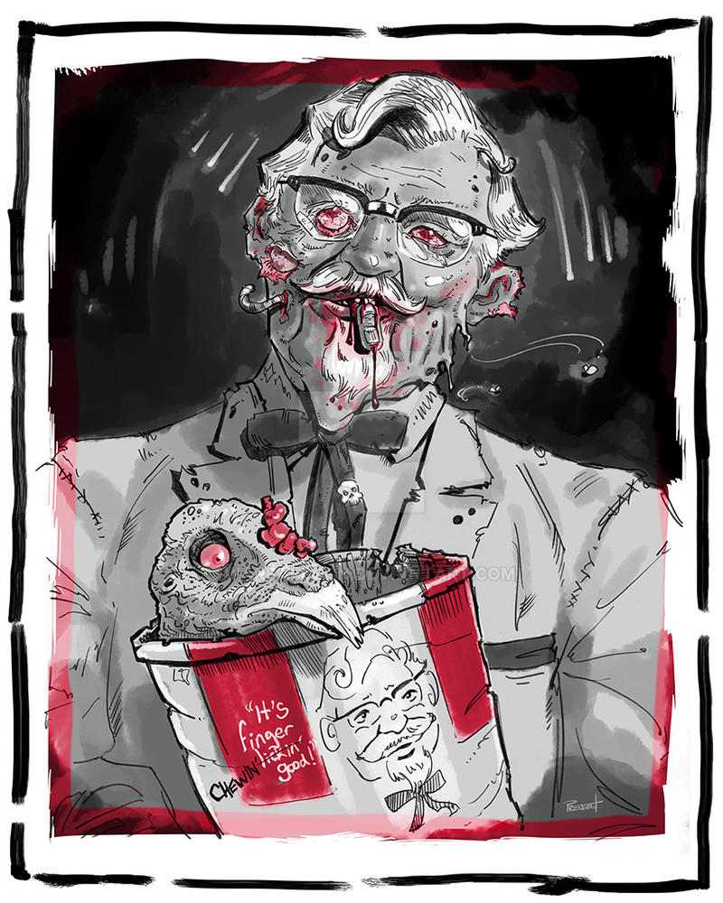 Zombie Colonel with Zombie Chicken Buddy by warballoon