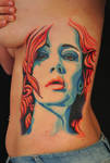 blue woman red hair