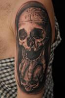 Skull holding skull by Robert-Franke