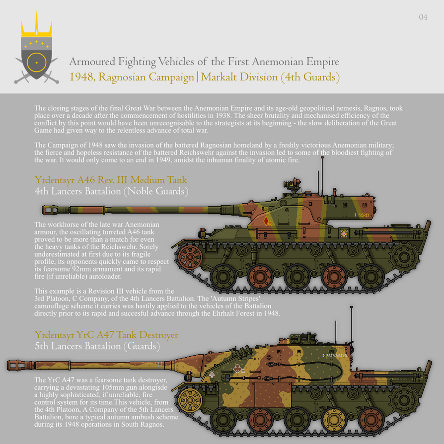 AFVs of the First Anemonian Empire, Part 4 (1948) by SixthCircle