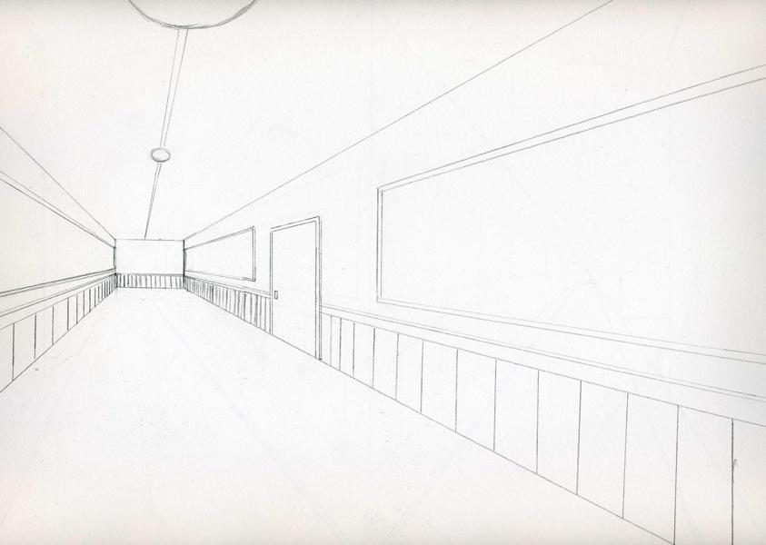 school hallway drawing - 843×600