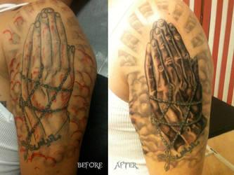 Praying Hands Coverup by FloscH-art