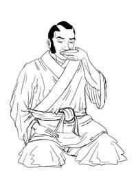 Samurai in Seiza by Stefanxp
