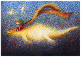 flying lizard and girl by porcelanita