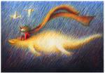 flying lizard and girl