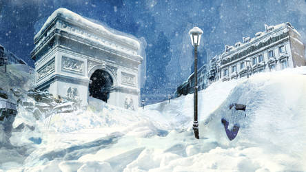 Paris under snow by AlcidesToste