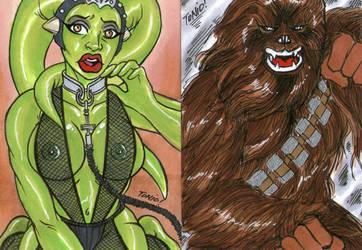 Star Wars Personal sketch cards by Tonioart