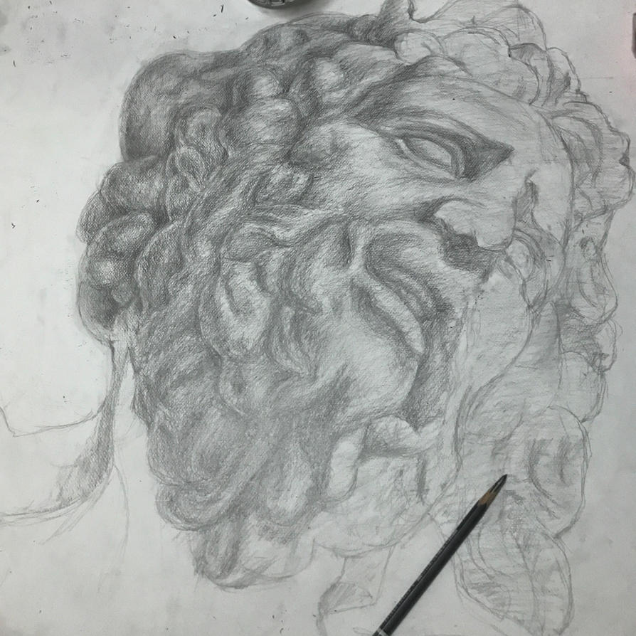 wip statue light and shadow pencil drawing study. by DHarleyArts